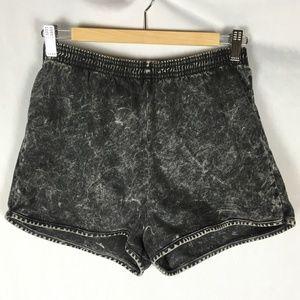 Vintage acid wash shorts black gray high rise Med